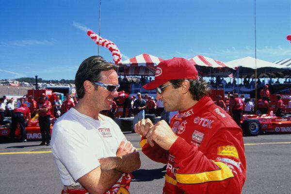 Laguna Seca, California, USA. 7th September 1997.Alex Zanardi (Reynard 97 Honda), 3rd position, chats to team mate Jimmy Vasser (Reynard 97 Honda), 1st position, action. World Copyright: LAT Photographic.Ref:  Colour Transparency.