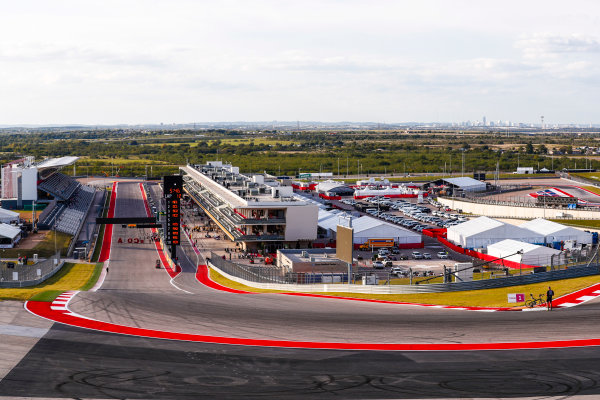 Circuit of the Americas, Austin, Texas, United States of America. Thursday 19 October 2017. A view of the circuit from turn 1. World Copyright: Sam Bloxham/LAT Images  ref: Digital Image _J6I6143