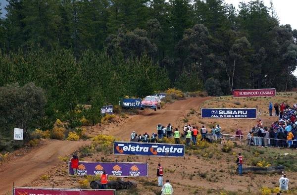 A Citroen Xsara WRC negotiates the famous jumps on the Sottico stage.World Rally Championship, Rd10, Telstra Rally Australia, Day 3 Perth, Australia, 7 September 2003.DIGITAL IMAGE