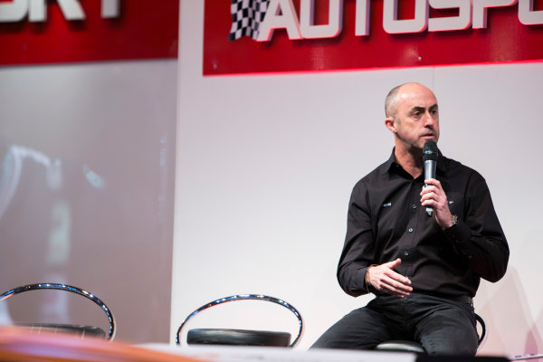 Autosport International Exhibition. National Exhibition Centre, Birmingham, UK. Thursday 8 January 2015. David Brabham on the Autosport stage. World Copyright: Zak Mauger/LAT Photographic. ref: Digital Image _L0U2544