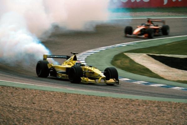 Marc Gene (ESP) Minardi has an engine failure German Grand Prix, Hockenheim, Germany, 30 July 2000