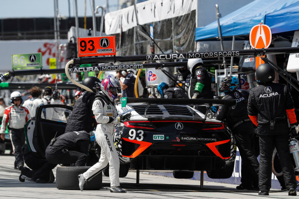 2017 IMSA WeatherTech SportsCar Championship BUBBA burger Sports Car Grand Prix at Long Beach Streets of Long Beach, CA USA Saturday 8 April 2017 93, Acura, Acura NSX, GTD, Andy Lally, Katherine Legge, pit stop World Copyright: Michael L. Levitt LAT Images ref: Digital Image levitt-0417-lbgp_08233