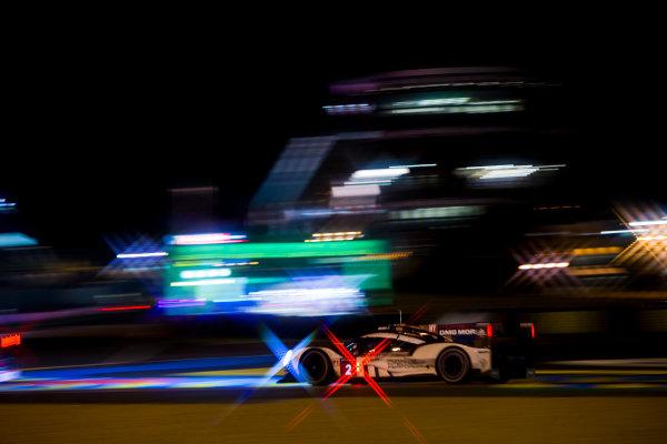 2016 Le Mans 24 Hours. Circuit de la Sarthe, Le Mans, France. Saturday 18 June 2016. Porsche Team / Porsche 919 Hybrid - Romain Dumas (FRA), Neel Jani (CHE), Marc Lieb (DEU).  World Copyright: Zak Mauger/LAT Photographic ref: Digital Image _79P8245