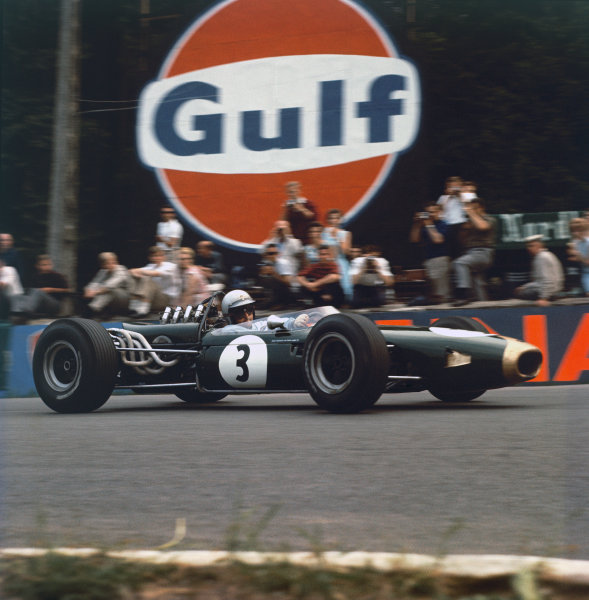 1966 Belgian Grand Prix. Spa-Francorchamps, Belgium. 12 June 1966. Jack Brabham, Brabham BT19-Repco, 4th position, action. World Copyright: LAT Photographic. Ref: Colour Transparency.