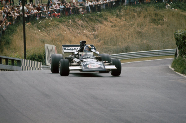 1972 German Grand Prix.  Nurburgring, Germany. 28-30th July 1972.  Carlos Pace, March 711 Ford, at Breidscheid bridge.  Ref: 72GER90. World Copyright: LAT Photographic