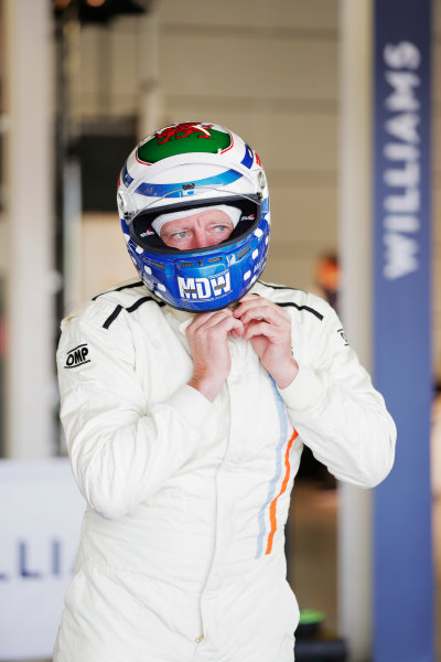 Williams 40 Event Silverstone, Northants, UK Friday 2 June 2017. A driver prepares for a run in a Carlos Reutemann Williams FW07b. World Copyright: Zak Mauger/LAT Images ref: Digital Image _54I0009