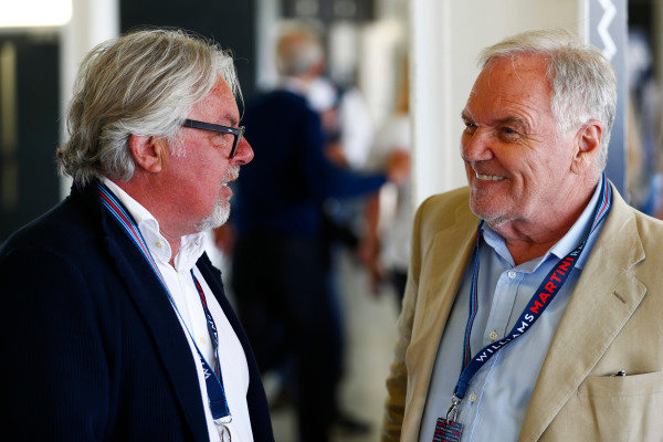 Williams 40 Event Silverstone, Northants, UK Friday 2 June 2017. Keke Rosberg talks to Patrick Head. World Copyright: Sam Bloxham/LAT Images ref: Digital Image _J6I6715