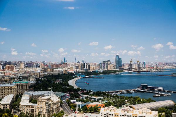 Baku City Circuit, Baku, Azerbaijan. Wednesday 21 June 2017. A view of the city from Dagustu (Upland) Park. World Copyright: Zak Mauger/LAT Images ref: Digital Image _56I5964
