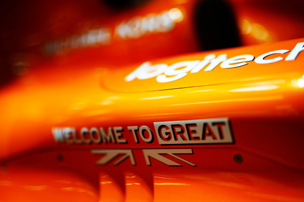 """Silverstone, Northamptonshire, UK.  Thursday 13 July 2017. """"Welcome to Great Britain"""" branding on a McLaren MCL32 Honda.  World Copyright: Andy Hone/LAT Images  ref: Digital Image _ONZ3160"""