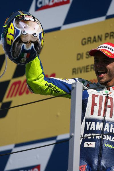 Misano, Italy. 4th - 6th September 2009.Valentino Rossi Fiat Yamaha Team celebrates on the podium.World Copyright: Martin Heath/LAT Photographicref: Digital Image SE5K9265