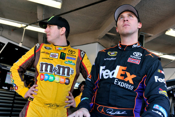 9-10 January 2014, Daytona Beach, Florida, USA Denny Hamlin and Kyle Busch ©2014, Nigel Kinrade LAT Photo USA
