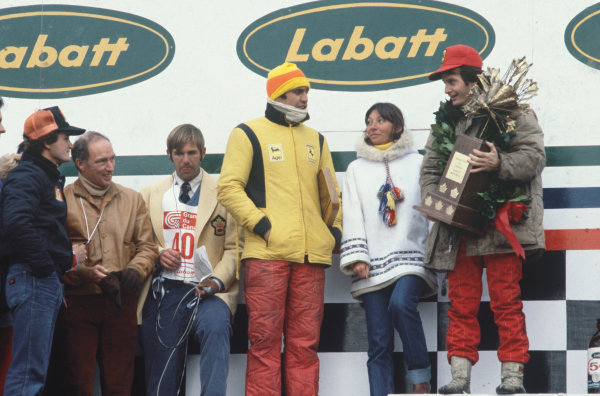 Montreal, Quebec, Canada. 6 - 8 October 1978.Gilles Villeneuve (Ferrari 312T3) 1st position, for his maiden Grand Prix win, on the podium with his wife, Joann, Pierre Trudeau, Prime Minister of Canada, teammate Carlos Reutemann and brother Jacques Villeneuve Sr, portrait. World Copyright: LAT Photographic.Ref:  78CAN28