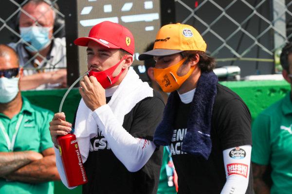 Future team mates Carlos Sainz, McLaren and Charles Leclerc, Ferrari