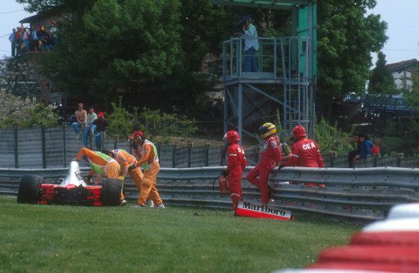 1991 San Marino Grand Prix.Imola, Italy.26-28 April 1991.Ayrton Senna (McLaren MP4/6 Honda) 1st position. Ref-91 SM 28.World Copyright - LAT Photographic
