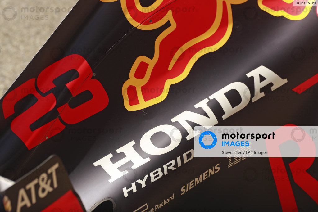 A Honda logo on th engine cover of the Alexander Albon, Red Bull Racing