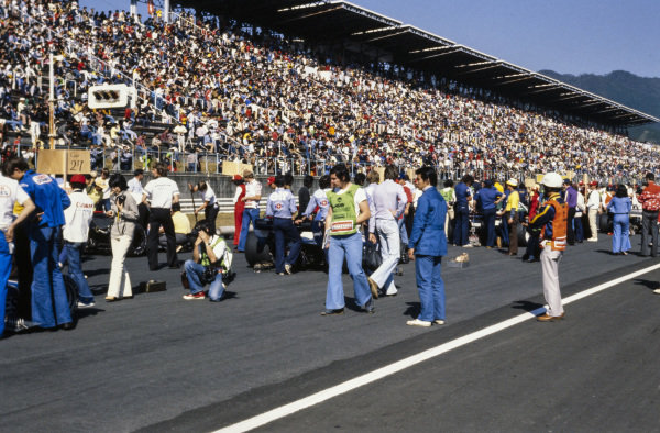 The cars line up on the grid before the race.