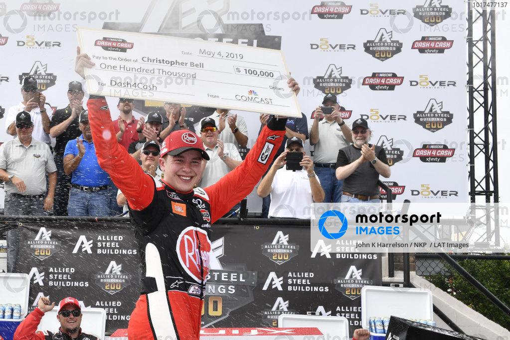 #20: Christopher Bell, Joe Gibbs Racing, Toyota Supra Rheem in victory lane