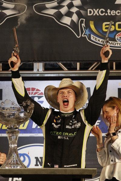 Josef Newgarden, Team Penske Chevrolet, podium, Victory Lane, guns