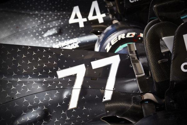 Cars of Lewis Hamilton, Mercedes AMG F1 W10 and Valtteri Bottas, Mercedes AMG W10