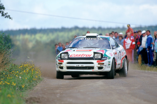 1000 Lakes Rally, Finland. 27-29 August 1993. Rd 9. Juha Kankkunen/Denis Giraudet (Toyota Celica Turbo 4WD), 1st position, action World Copyright: LAT Photographic Ref: 35mm transparency 93RALLY01