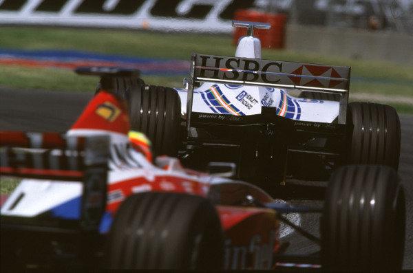 1999 Canadian Grand Prix.Montreal, Quebec, Canada.11-13 June 1999.Ralf Schumacher (Williams FW21 Supertec) follows Johnny Herbert (Stewart SF3 Ford).Ref-99 CAN 15.World Copyright - LAT Photographic