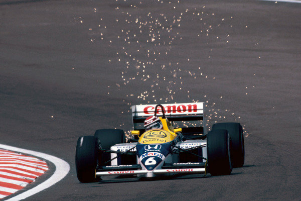 Nelson Piquet (BRA), Williams FW11, retired due to a turbo boost control problem. Belgian Grand Prix, Rd5, Spa-Francorchamps, Belgium, 25 May 1986. BEST IMAGE