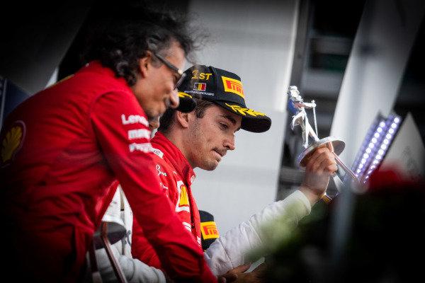 Laurent Mekies, Sporting Director, Ferrari, and Charles Leclerc, Ferrari, 1st position, on the podium