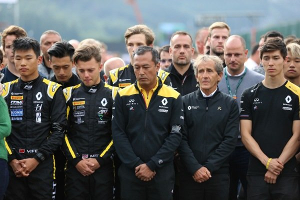 Mia Sharizman Renault Sport Academy DirectorAlain Prost, Renault F1 Team, with Jack Aitken, Renault R.S. 19, Max Fewtrell (GBR) ART Grand Prix, Ye Yifei (FRA) Hitech Grand Prix