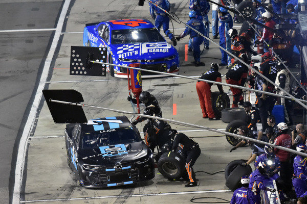 #7: Corey LaJoie, Spire Motorsports, Chevrolet Camaro Shavelogic and #43: Erik Jones, Richard Petty Motorsports, Chevrolet Camaro Petty's Garage