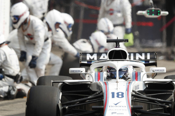 Lance Stroll, Williams FW41 Mercedes, makes a pit stop.
