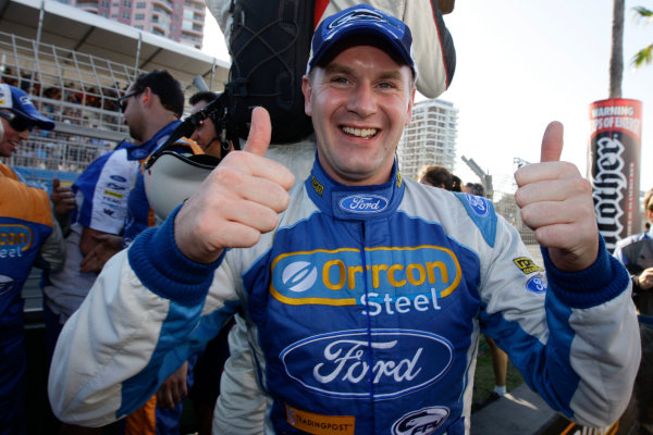The Ford Performance Racing Ford Falcon of Mark Winterbottom and Richard Lyons of the UK winners of the Armor All Gold Coast 600, event 11 of the 2011 Australian V8 Supercar Championship Series at the Gold Coast Street Circuit, Gold Coast, Queensland, October 23, 2011.