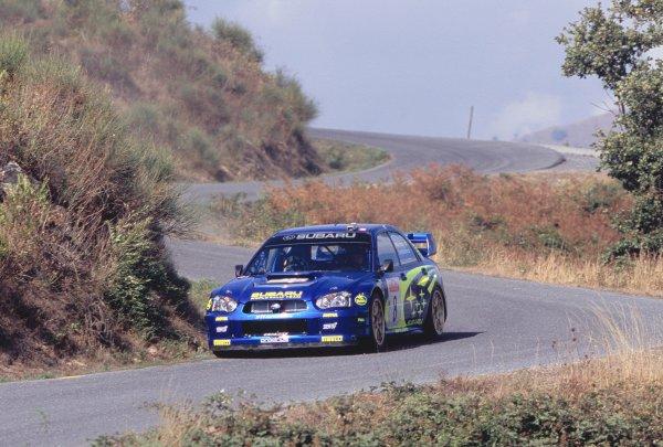 2003 World Rally ChampionshipRally of San Remo, Italy. 2nd - 5th October 2003.Tommi Makinen / Kaj Lindstrom, Subaru Impreza WRC 2003. Twisty road section. Hills. Action.World Copyright: McKLEIN/LATref: 35mm Image WRCSANREMO07 jpg