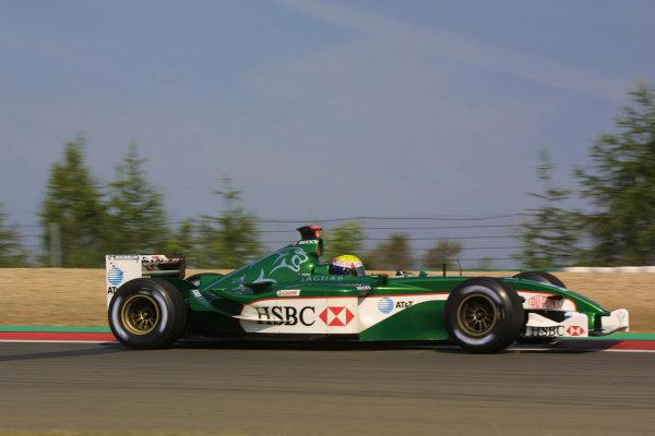 2003 European Grand Prix - Friday 1st Qualifying,Nurburgring, Germany.27thth June 2003.Mark Webber, Jaguar R4, actionWorld Copyright LAT Photographic.Digital Image Only.