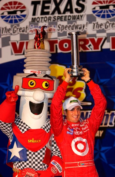 IRL IndyCar Series Bombardier 500 at Texas Motor Speedway, Ft Worth, Texas, USA 7 June,2003Tomas and Sparky celebrate Scheckter's pole.World Copyright-F Peirce Williams 2003 LAT Photographicref: Digital Image Only