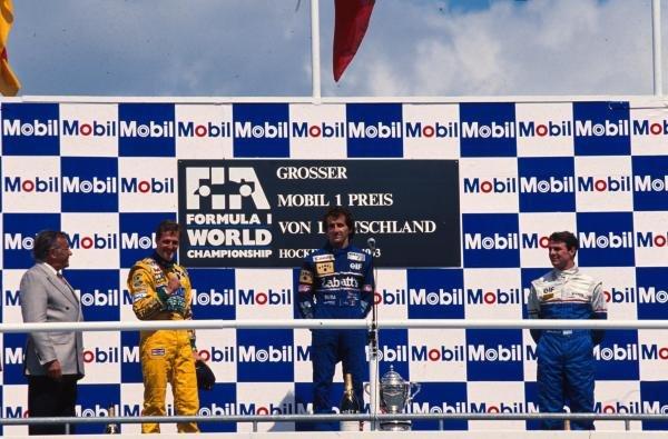 The podium (L to R): Michael Schumacher (GER) Benetton; Alain Prost (FRA) Williams win fifty-one; Mark Blundell (GBR) Ligier third.  German Grand Prix, Hockenheim, 25 July 1993