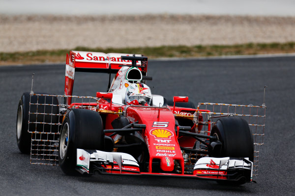 Circuit de Catalunya, Barcelona, Spain Monday 22 February 2016. Sebastian Vettel, Ferrari SF16-H. World Copyright: Alastair Staley/LAT Photographic ref: Digital Image _R6T6591