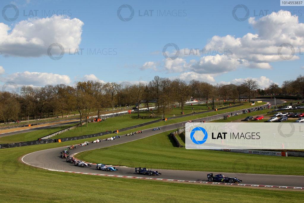 2016 BRDC British Formula 3 Championship, Brands Hatch, Kent. 16th - 17th April 2016. Race 3 Start Colton Herta (USA) Carlin BRDC F3 leads. World Copyright: Ebrey / LAT Photographic.