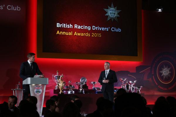 2015 British Racing Drivers Club Awards Grand Connaught Rooms, London Monday 7th December 2015 Derek Warwick on stage. World Copyright: Jakob Ebrey/LAT Photographic ref: Digital Image Warwick-01
