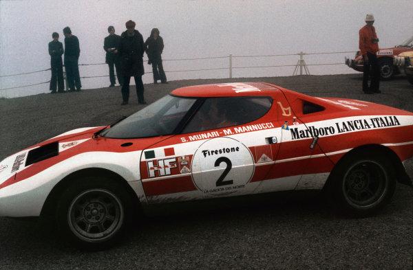 Bilbao, Spain. 7th - 8th April 1973.Sandro Munari / Mario Mannucci (Lancia Stratos), 1st position, action.World Copyright: LAT Photographic.
