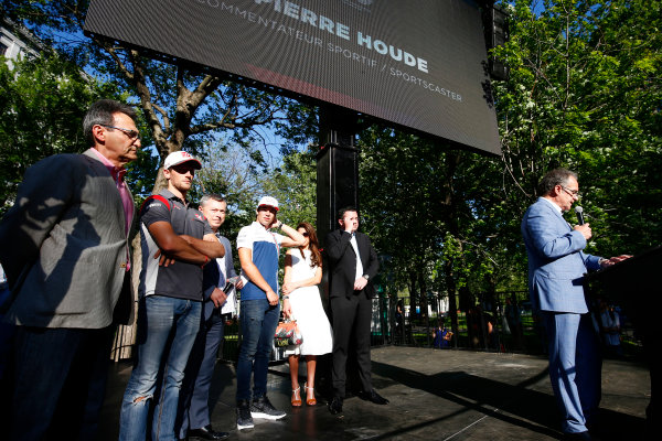 Circuit Gilles Villeneuve, Montreal, Canada. Wednesday 7 June 2017. Pierre Houde, Commentator on stage with Romain Grosjean, Haas F1 Lance Stroll, Williams Martini Racing. and Eric Boullier. World Copyright: Hone/LAT Images ref: Digital Image _ONZ1104