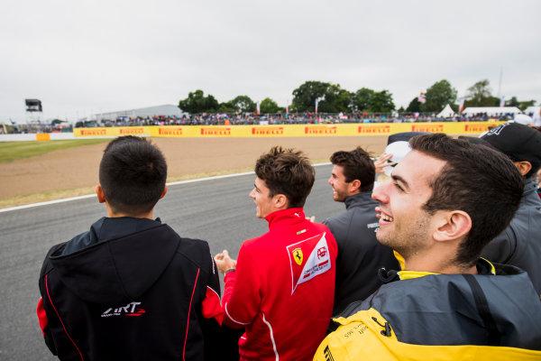 2017 FIA Formula 2 Round 6. Silverstone, Northamptonshire, UK. Saturday 15 July 2017. Alexander Albon (THA, ART Grand Prix), Charles Leclerc (MCO, PREMA Racing) and Nicholas Latifi (CAN, DAMS).  Photo: Zak Mauger/FIA Formula 2. ref: Digital Image _54I5184