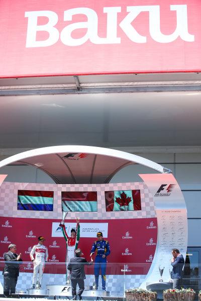 2017 FIA Formula 2 Round 4. Baku City Circuit, Baku, Azerbaijan. Saturday 24 June 2017. Nyck De Vries (NED, Rapax), Charles Leclerc (MCO, PREMA Racing) and Nicholas Latifi (CAN, DAMS)  Photo: Charles Coates/FIA Formula 2. ref: Digital Image DJ5R4181