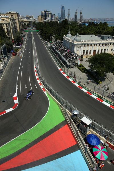 Baku City Circuit, Baku, Azerbaijan. Friday 23 June 2017. Marcus Ericsson, Sauber C36 Ferrari. World Copyright: Charles Coates/LAT Images ref: Digital Image AX0W5205