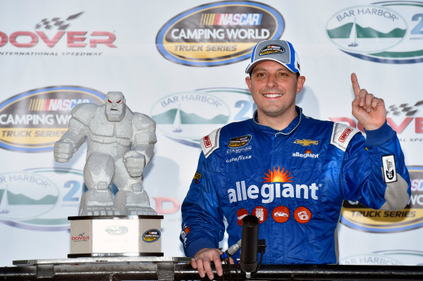 NASCAR Camping World Truck Series Bar Harbor 200 Dover International Speedway, Dover, DE USA Friday 2 June 2017 Johnny Sauter, Allegiant Airlines Chevrolet Silverado celebrates his win in Victory Lane World Copyright: Nigel Kinrade LAT Images ref: Digital Image 17DOV1nk06889