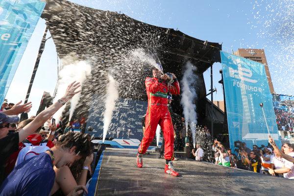 2016/2017 FIA Formula E Championship. Round 11 - Montreal ePrix, Canada Saturday 29 July 2017.Lucas Di Grassi (BRA), ABT Schaeffler Audi Sport, Spark-Abt Sportsline, ABT Schaeffler FE02, celebrates on the podium. Photo: Malcolm Griffiths/LAT/Formula E ref: Digital Image MALK5435
