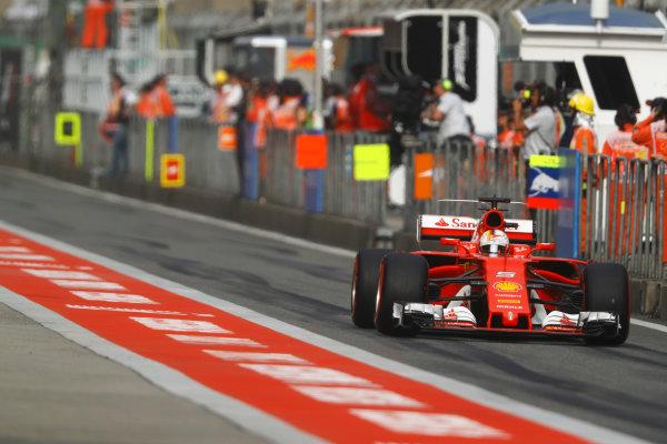 Shanghai International Circuit, Shanghai, China.  Saturday 08 April 2017. Sebastian Vettel, Ferrari SF70H. World Copyright: Steven Tee/LAT Images ref: Digital Image _O3I4723