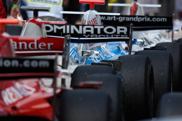 Hungaroring, Budapest. 3rd August 2008. Sunday Race.GP2 cars in Parc ferme. World Copyright: Glenn Dunbar/GP2 Series Media Service. ref: Digital Image _O9T3389