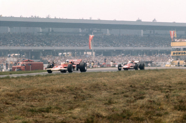 Hockenheim, Germany. 31st July - 2nd August 1970.Jochen Rindt (Lotus 72C-Ford), 1st position leads Clay Regazzoni (Ferrari 312B), retired, action. World Copyright: LAT Photographic.Ref:  70GER