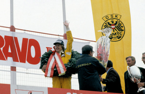 Osterreichring, Zeltweg, Austria. 11-13 August 1978. Ronnie Peterson, (Lotus 78-Ford) 1st position, podium. World Copyright: LAT Photographic. Ref: 78AUT17
