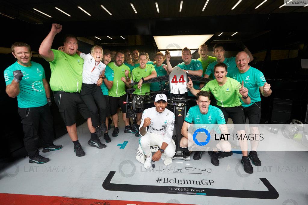 Spa Francorchamps, Belgium.  Sunday 27 August 2017. Lewis Hamilton, Mercedes AMG, 1st Position, celebrates with his team. World Copyright: Steve Etherington/LAT Images  ref: Digital Image SNE10910